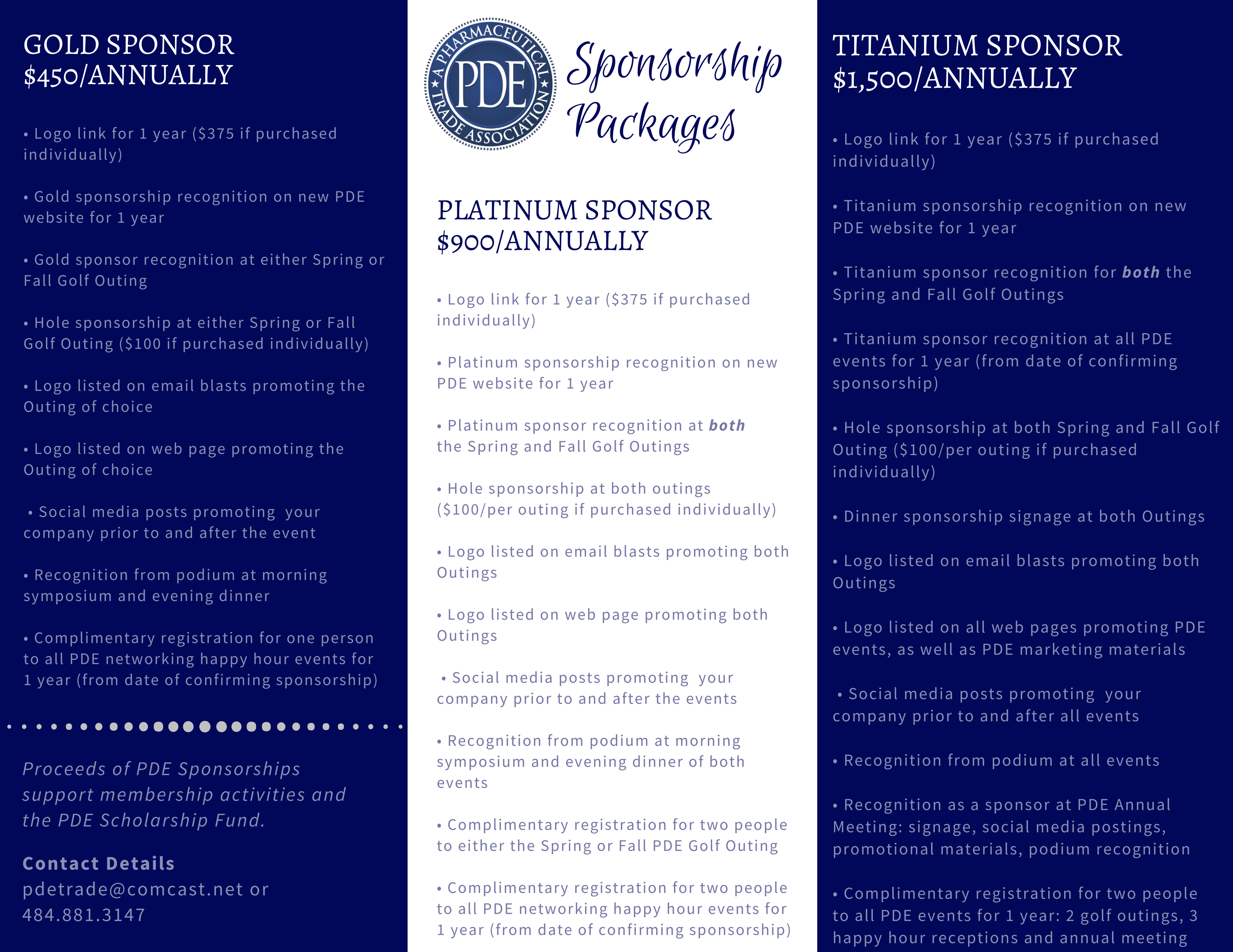 2019 Sponsorship Opportunities - PDE Pharmaceutical Trade